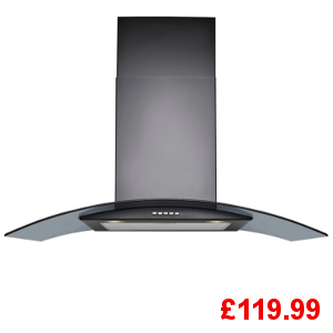 Belling 900CGH Black Curved Glass Chimney Hood